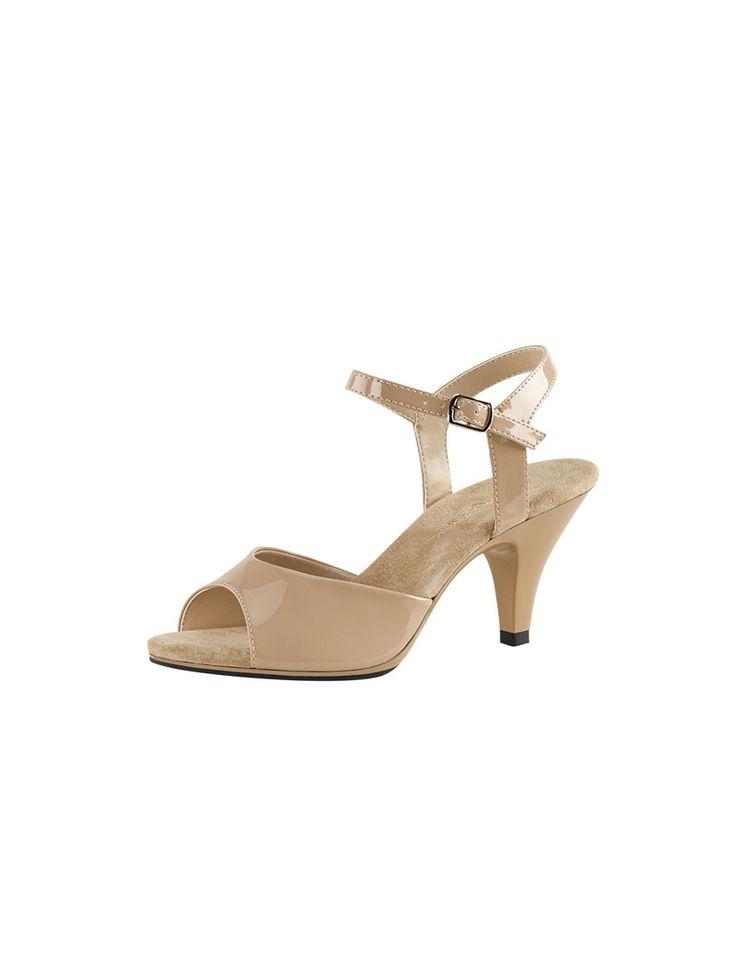 Sandale petit talon à bride de coloris caramel vernis #foxyladyparis #paris #chaussures #sandales #talon #nupieds