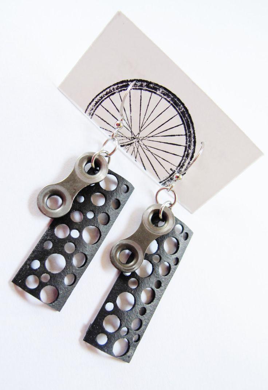 bike parts jewelry | Recycled Jewelry - Innertube Bike Chain Earrings - handmade - bicycle