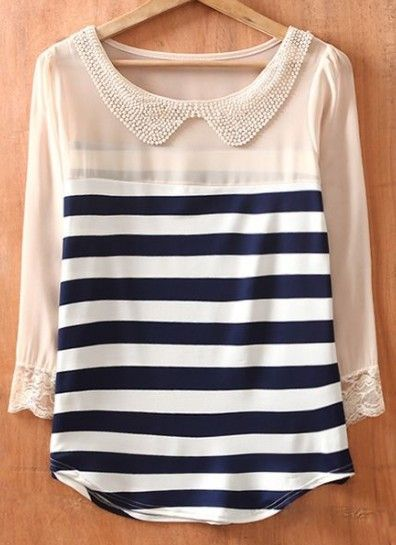 : Chiffon Blouses, Nautical Stripes, Navy Stripes, Shirts, Pearls, Peter O'Tool, Peter Pan Collars, Long Sleeve, Beads Collars