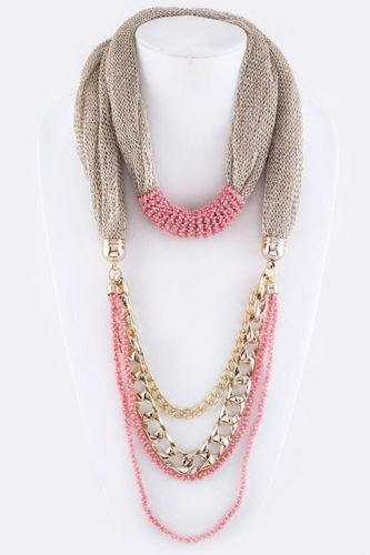 B11 Metallic Platinum Silver Gold Mesh Chain Pink Bead Infinity Scarf Necklace
