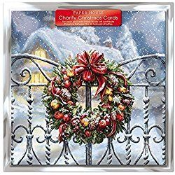 Charity Christmas Cards - Pack Of 6 Cards - Snowy Wreath - In aid of the following Charities: Marie Curie Cancer Care, British Heart Foundation, NSPCC, Age UK, Motor Neurone Disease. Tenovus Cancer Charity (0021)