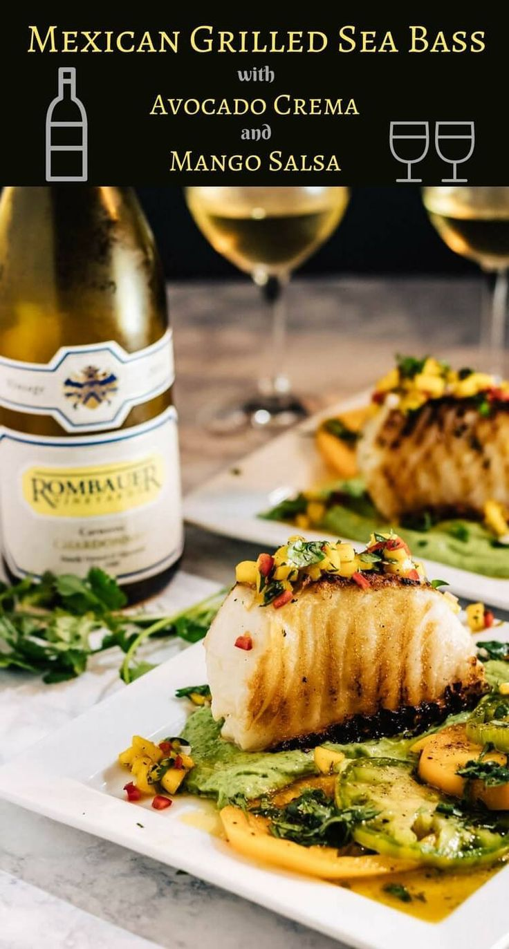 Mexican Grilled Sea Bass - Grilled sea bass in a puddle of avocado crema topped with fresh mango salsa... Mexican Grilled Sea Bass, with its bold Mexican-inspired flavors, is elegant enough for a special occasion, but simple enough for any day of the week! Chilean sea bass | fish recipes | healthy Mexican recipes | avocadoes