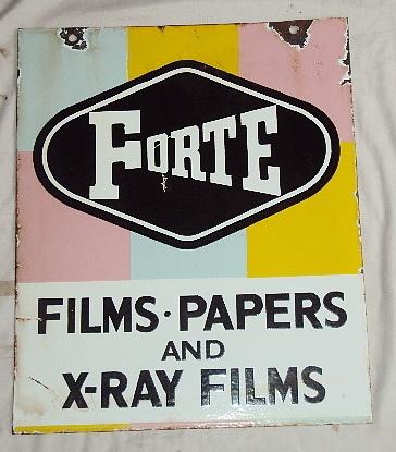 FORTE FILMS 2 SIDED Vintage Porcelain Enamel Sign RareSide Vintage, Enamels Signs, Signs Rare, Vintage Porcelain, Forts Film, Porcelain Enamels