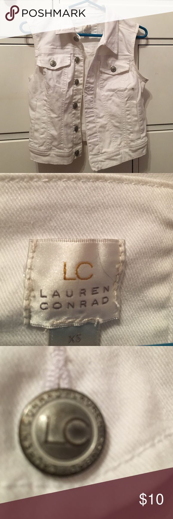 Lauren Conrad White Jean Vest 🎉SALE ON ALL AMERICAN EAGLE, HOLLISTER, CHARLOTTE RUSSE LAUREN CONRAD AND FOREVER 21 BRAND ITEMS 🎉This white Jean vest from Lauren Conrad has two hand pockets and two decorative pockets. A few loose threads but otherwise in great condition! Lauren Conrad Jackets & Coats Jean Jackets