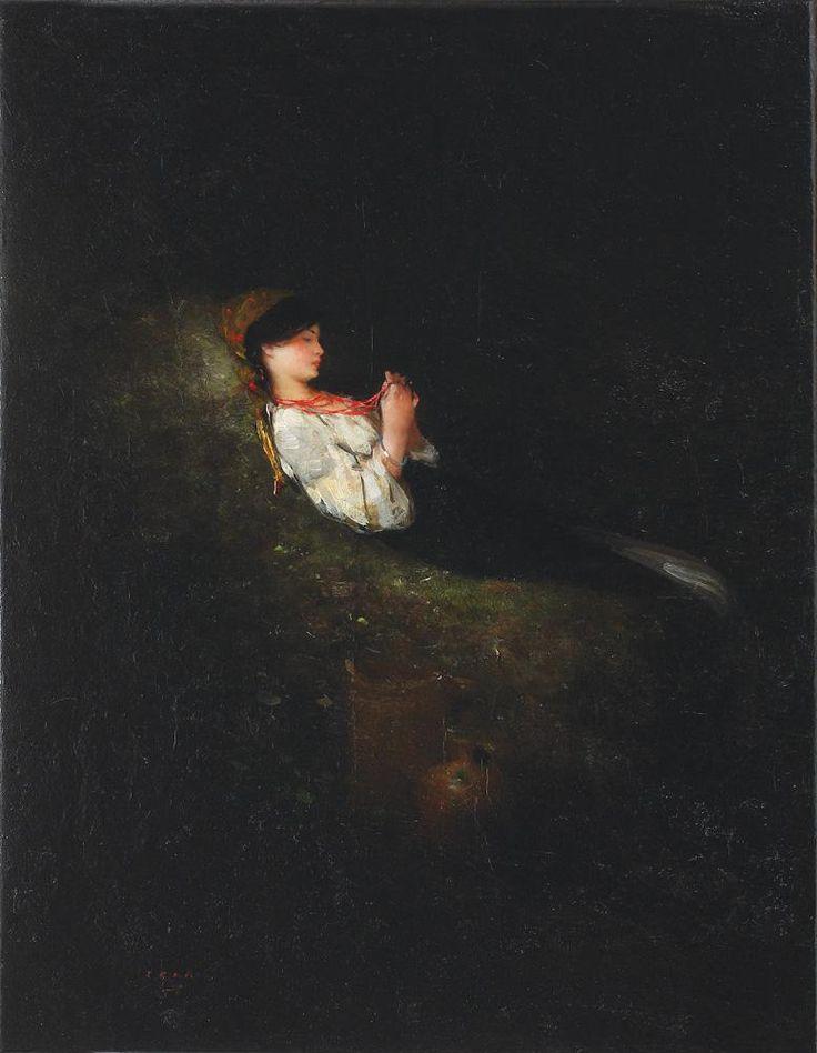 """Nicolae Grigorescu, """"Țărăncuță odihnindu-se"""" (""""Peasant Girl Resting"""").  Like a dream . . ."""