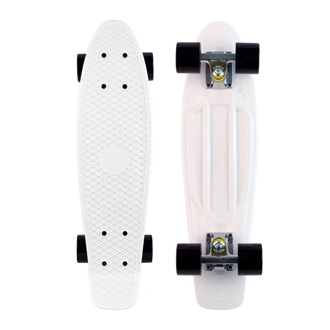 White and black Penny Board.Penny Boards, Birthday, White, Black Wheels, Bikes Boards, Black Pennies Boards, Boards Skateboards, Pennies Skateboards, Skating Boards
