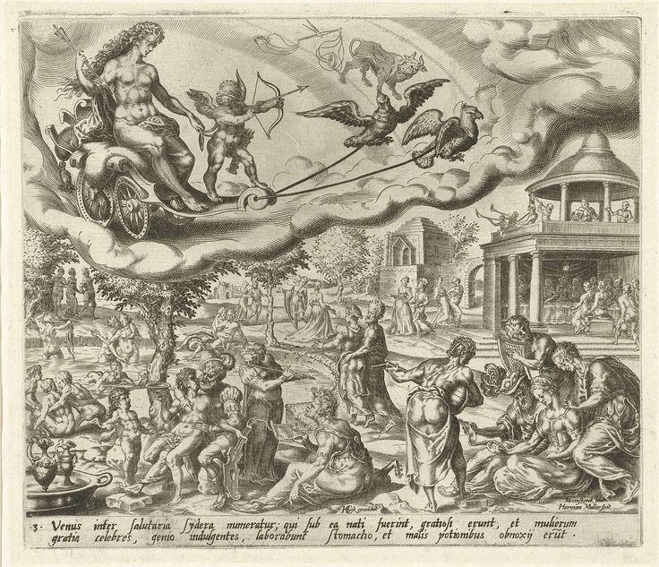 Harmen Jansz Muller   De planeet Venus en haar kinderen, Harmen Jansz Muller, Hieronymus Cock, 1566 - 1570   Venus en Amor rijden in een wagen aan de hemel, getrokken door twee vogels. De tekens van Weegschaal en Stier geven aan welke mensen tot de invloedssfeer van Venus behoren. De mensen, die onder dit sterrenbeeld geboren zijn, geven zich over aan een plezierig leven en erotiek. In een landschap wordt gevreeën, gebaad, gemusiceerd, in paren gewandeld of rond een gedekte tafel gegeten…