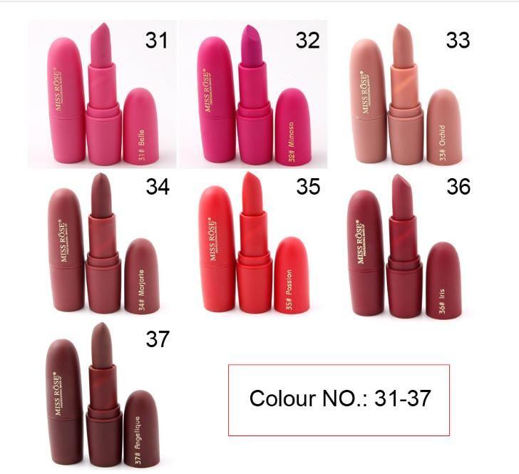 MISS RÔSE Matte Rose Lipstick Nude Deep Red Lip Sticks Waterproof 7 Colors Online - NewChic