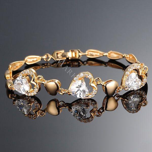 Luxurious 18k Gold Heart Women's Bracelet