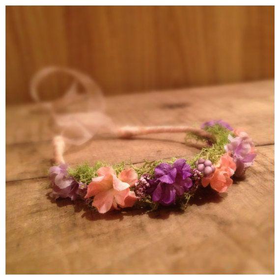 Newborn halo baby halo floral crown tie by petiteboutiquenj 22 00 fabric flower headbandsfabric flowersdiy