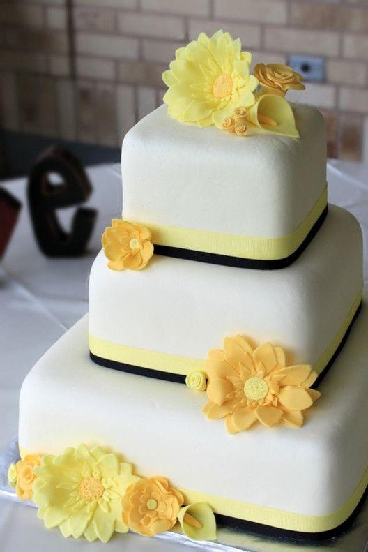 Yellow themed wedding cake