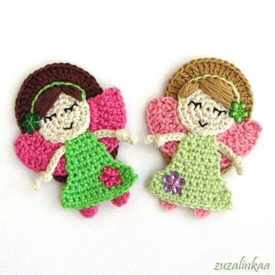 Crocheted fairy girls