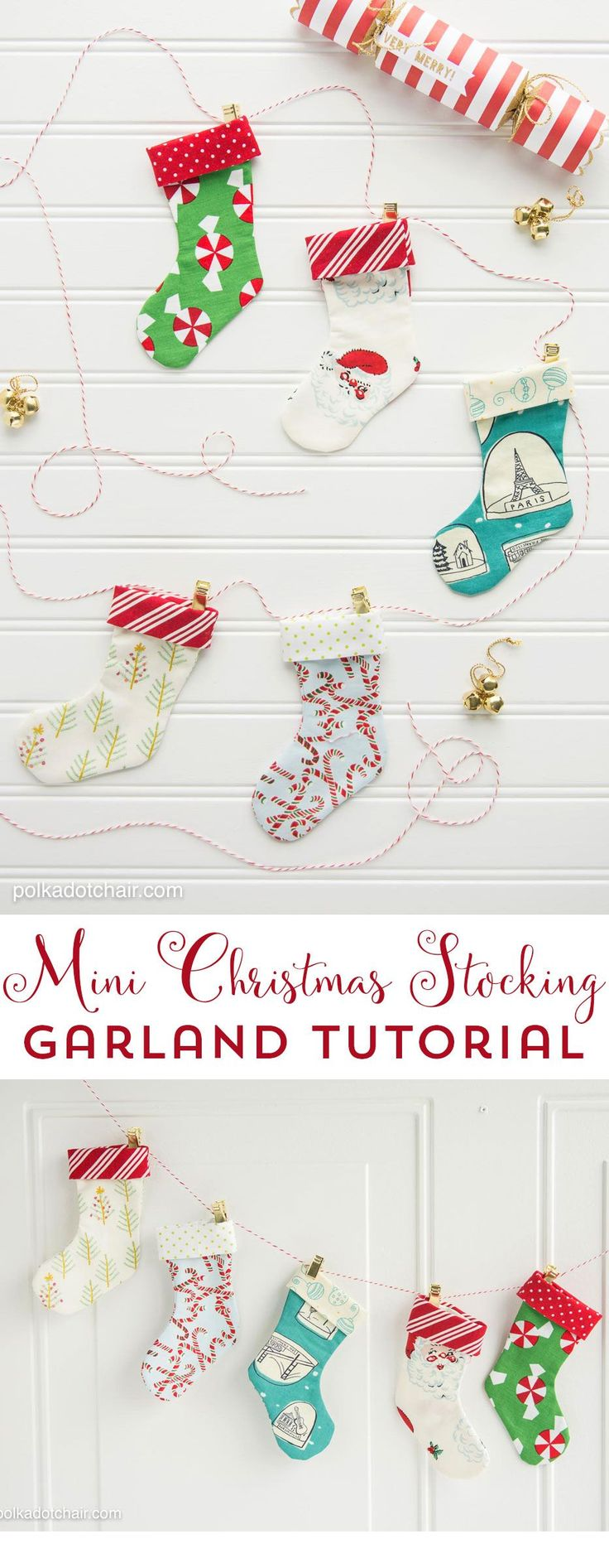 Mini Christmas Stocking Garland Sewing tutorial by Melissa of polkadotchair.com #freepattern #christmas #christmassewing #christmasstocking #sewing #christmasgiftidea