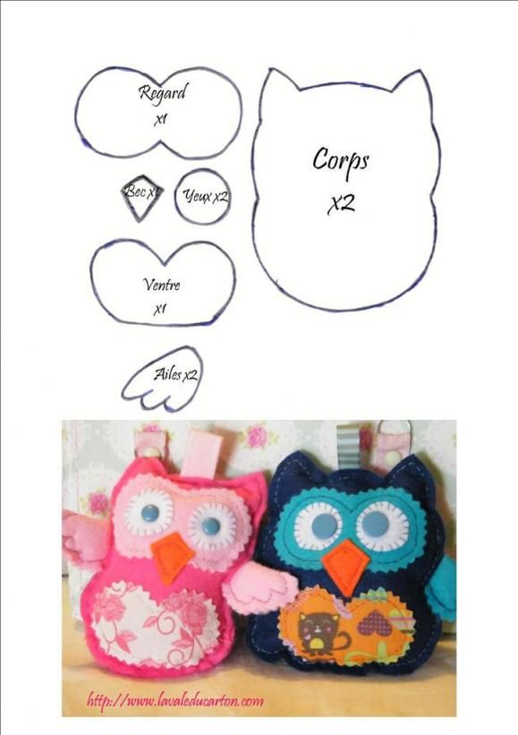 Tutoriel hibou en feutrine felt owls pinterest - Tenture chambre bebe ...