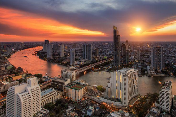 Таиланд Небо Небоскребы Дома Мосты Реки Рассветы и закаты Бангкок Города