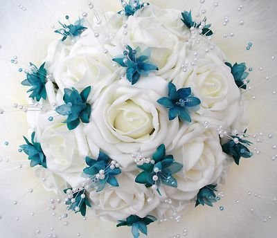 Teal wedding bouquet - I would so ivory and red