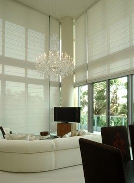 Cascade style, Solarweave® fabric, motorized Roman Shades with Radio Frequency Remote Control Operation