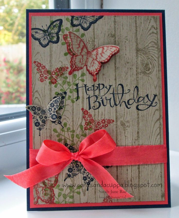 470 best birthday cards images on pinterest handmade cards navy and coral really pop on this hardwood background fold and glue the punched butterflies birthday cards onlinehandmade bookmarktalkfo Gallery