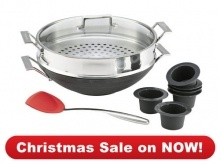 Cookware  Wok Wok & Steamer Bonus Pack  Great value incredible versatility  $225.00 save $98  You can do so much more with a Chefs Toolbox Wok Great for steaming fish and vegetables stir fries savoury pastries and delicious puddings whether you're cooking for a crowd or a couple. For a moist, succulent Christmas treat try our delicious Steamed Christmas Pudding recipe.     Wok & Steamer Bonus Pack, valued at $323, includes:  como advanced 36cm Wok with Steamer & Lid