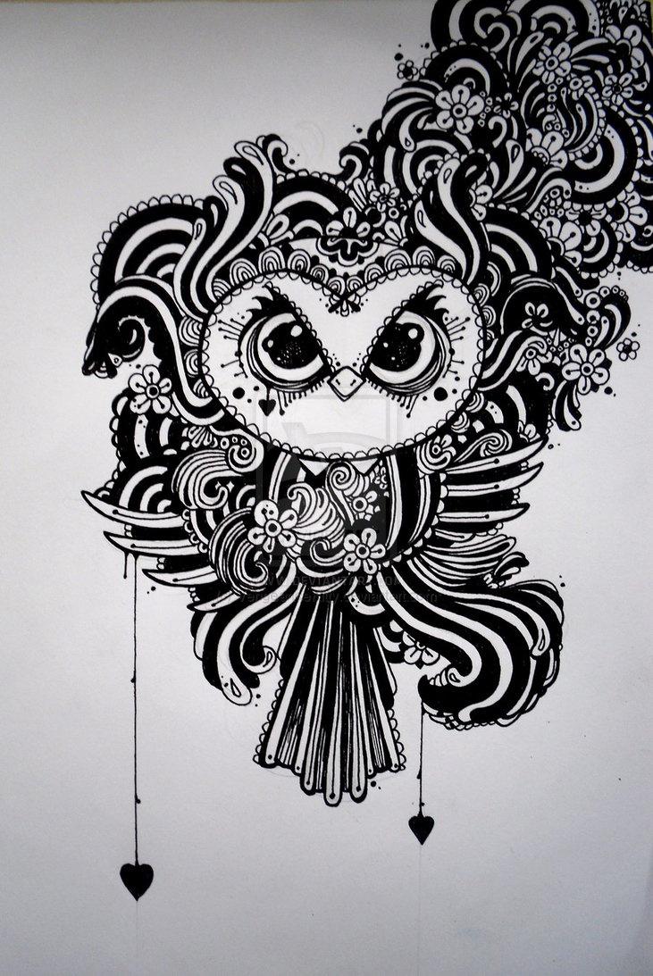 Zentangle owl by Vengeance Kitty