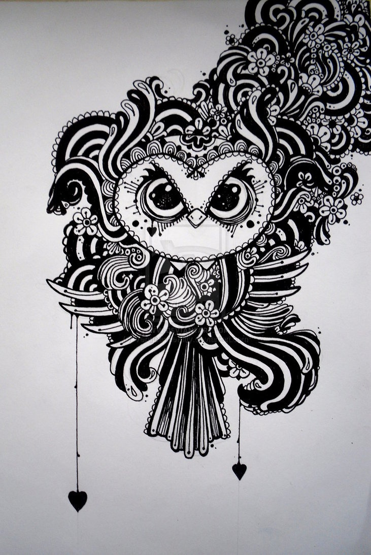 Zentangle Owl by VengeanceKitty Owls Pinterest