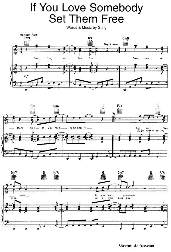 If You Love Somebody Set Them Free Sheet Music Sting Sheet Music