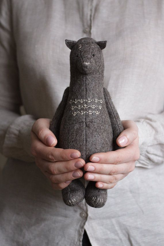 Bear is a part of our Forestmisha Collection edition. He has a wool fur, neatly embroidered nose and elegantly sewed. Teddy Bear can move his arms