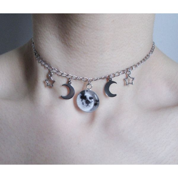 celestial full moon choker, pastel goth, grunge, gothic necklace ($21) ❤ liked on Polyvore featuring jewelry, necklaces, goth choker, choker necklace, gothic choker, choker pendants and gothic pendant