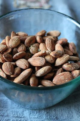 Ranch Roasted Almonds:  2 cups raw almonds, ¼ teaspoon sea salt, ¼ teaspoon garlic salt, ¼ teaspoon onion powder, ¼ teaspoon parsley flakes, ¼ teaspoon oregano flakes. Preheat oven to 400.  Place the raw almonds in a bowl then cover them with water.  Drain the water.  Stir in the remaining ingredients.  Spread the wet and seasoned almonds over a cookie sheet.  Bake for 4 minutes, then stir and bake for 2 more minutes.  Allow the hot nuts to cool on a plate until they are cool enough to…