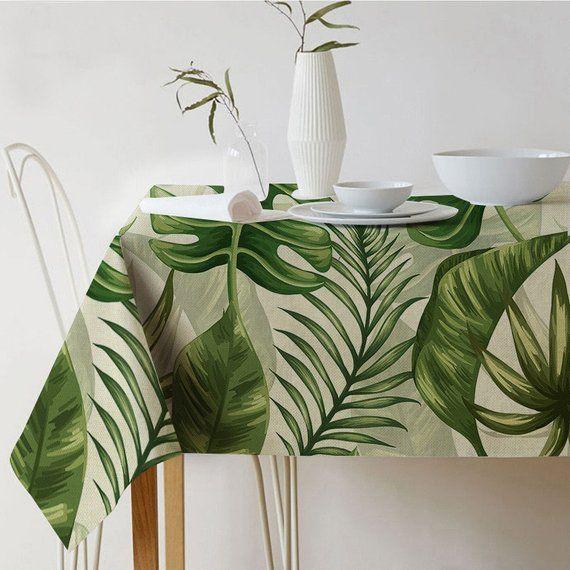 Tablecloth Rectangle Botanical Print Tropical Tablecloth Modern Tropical Tablecloths Leaf Tablecloth Tropical Home Decor
