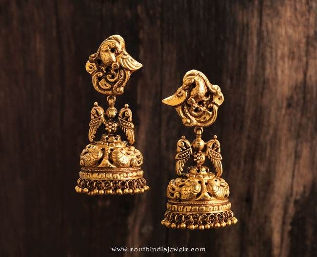gold-antique-jhumka-from-karpagam-jewellers.jpg (650×528)