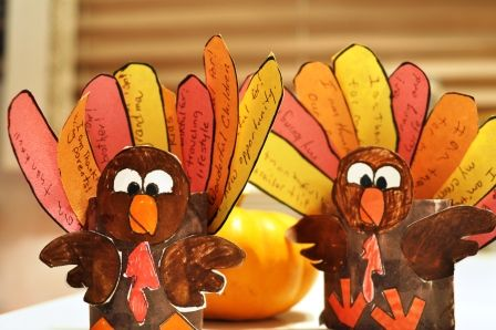 Thankful birds for Thanksgiving (instead of Angry   Birds). Use a toilet paper roll for the body. The kids cut out several feathers and passed them out to family members who had to write down what they were thankful for.