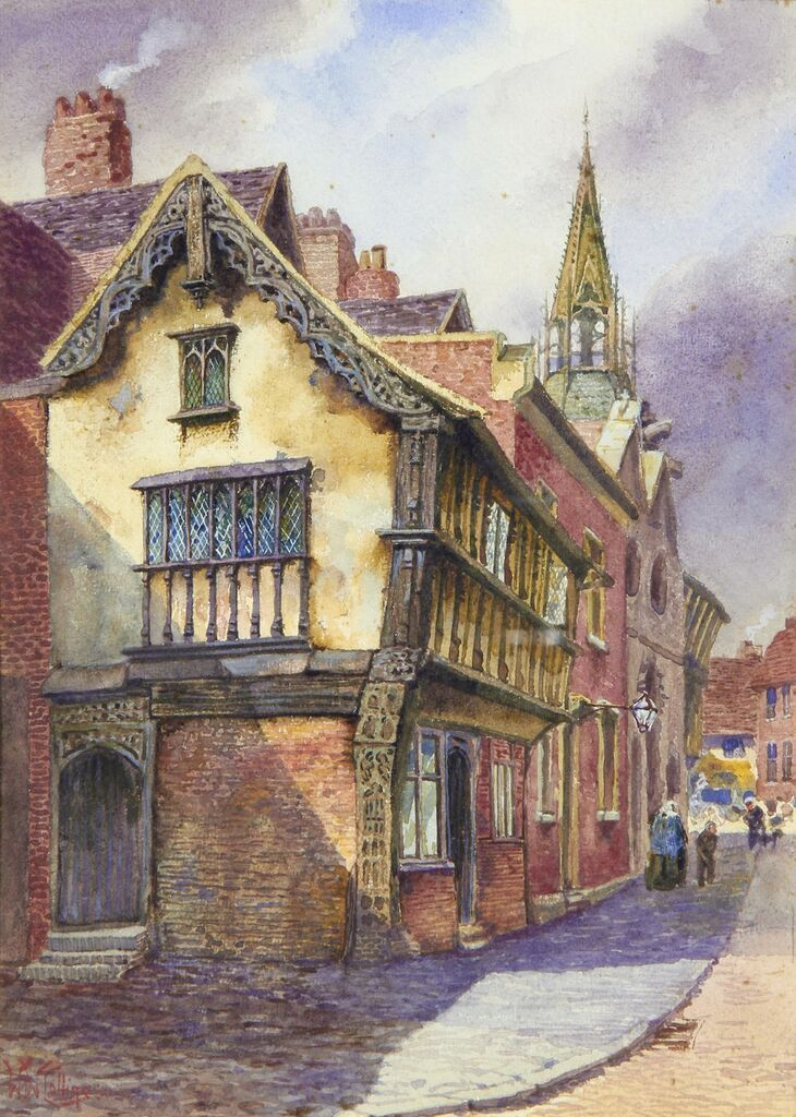 Town Scene. Watercolour by William Wiehe Collins (1862-1951), private collection