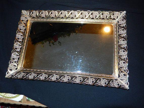 Mirror Dresser Tray by SevenPeaksAntiques on Etsy, $22.00