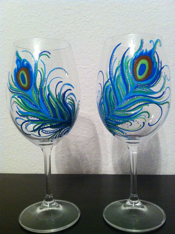 Hey, I found this really awesome Etsy listing at http://www.etsy.com/listing/152049062/hand-painted-peacock-feather-wine