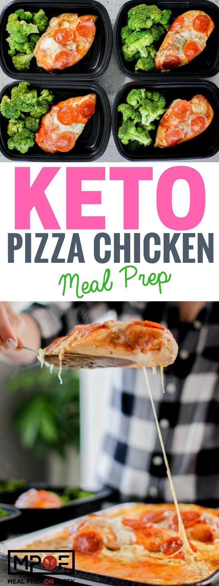 Pizza Chicken Meal Prep Recipe - This pizza chicken recipe is a low carb recipe, keto recipe, and gluten free recipe! A great way to eat healthy pizza. #ketodiet #lowcarbdiet #glutenfree #keto #ketorecipes