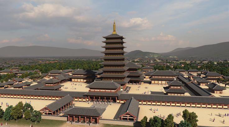 황룡사 복원 조감도 Computer graphic reconstruction of Hwangnyong-sa Temple in Gyeongju during the Silla Period