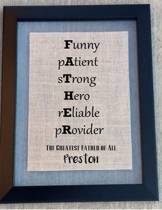 Great gift for dads birthday the holidays or Fathers Day Sign. Father sign fit for the best dad and describing any wonderful dad perfectly! What a great Christmas gift, Father's Day or Birthday gift t
