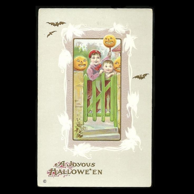 Halloween Postcard Series 345 A Embossed Pumpkins, Boys, and Garden Gate at Tannery Creek Antiques.