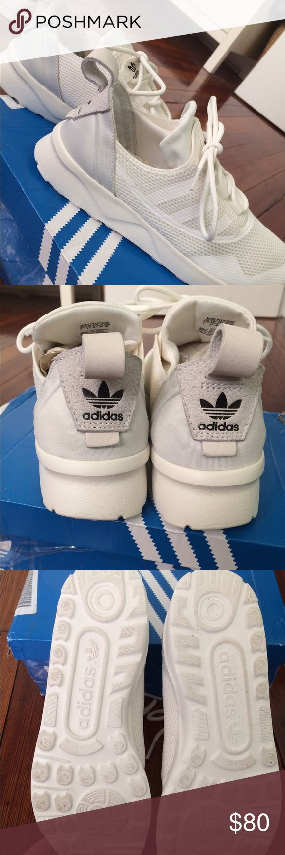 NWTIB White Adidas ZX FLUX ADV New with tags, new in box white Adidas ZX FLUX ADV sneakers. Super comfortable, perfect sneakers to wear with jeans or to the gym!! Offers welcome, no trades! Adidas Shoes Sneakers