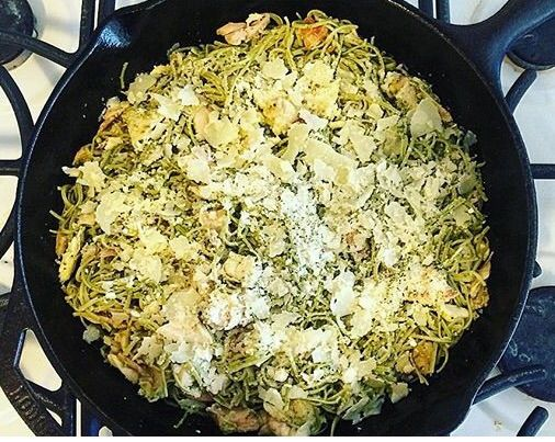 Organic Edamame Spaghetti with Basil Pesto is on the menu tonight. visit: http://momsterdiaries.theblogpress.com/organic-edamame-spaghetti-with-basil-pesto/