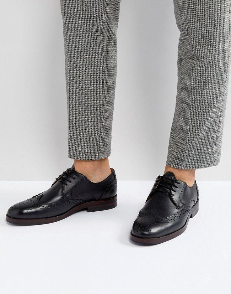HUDSON LONDON OSNEY LEATHER BROGUE SHOES IN BLACK - BLACK. #hudsonlondon #shoes #