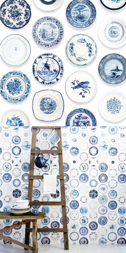 """someone else who loves cobalt blue plates as much as I do :)  I """"need"""" to get more, they have some fabulous wall hangings here!"""