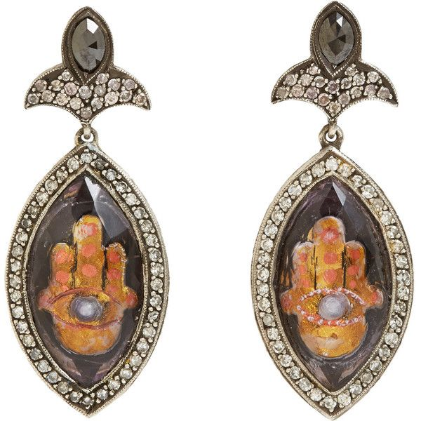 Sevan Bicakci Intaglio-Carved Hamsa Drop Earrings (133 885 SEK) ❤ liked on Polyvore
