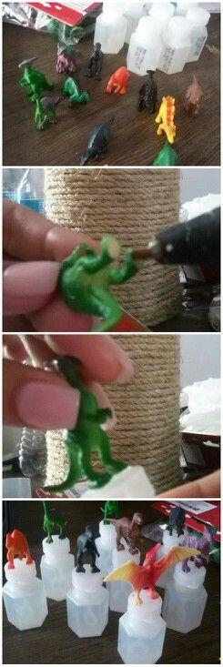 Dinosaur birthday theme mini bubble bottle DIY party favors.
