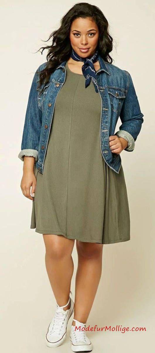 Jeansjacke Grünes Kleid – Mode inGroße Größe…
