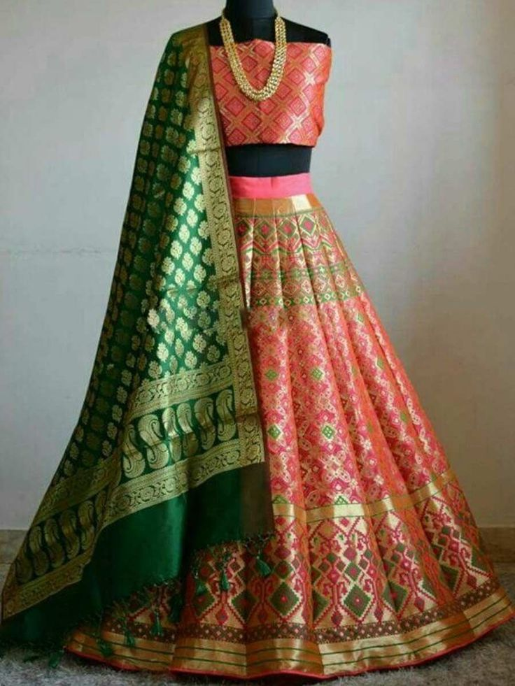 Coral Pink Silk Embroidered Party Lehenga