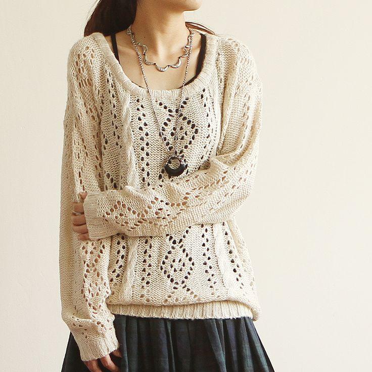 Korean Japanese Style E3357-2013 women's loose o-neck long-sleeve rhombus cutout sweater 0815 Cute  Sweet Fashion $13.18