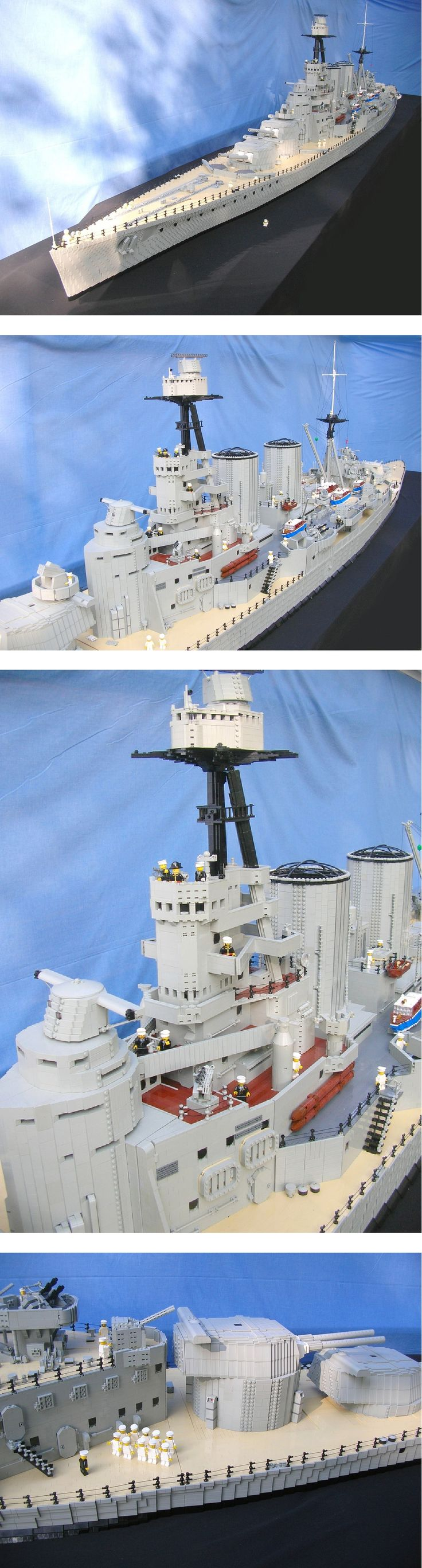 Lego 'HMS Hood' model - by Ed Diment (Lego Monster), via Flickr;  other photos on Flickr show the model in progress
