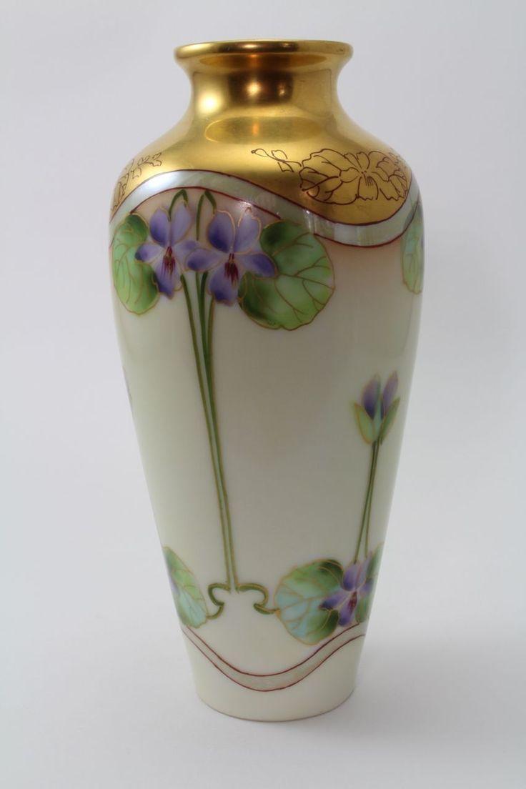 Violet Gold Pearl Lustre 6 Inch Vase Pickard Hand Painted Porcelain Signed Kriesche  Foothills Road on Ruby Lane.